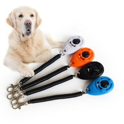 Puppy Button Dog Cat Pet Clicker Click Training Obedience Aid Wrist Strap Tool