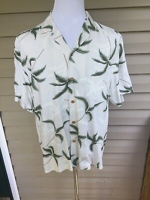 Paradise Found Men's Large Hawaiian Camp Shirt Palm Trees Coconut Buttons