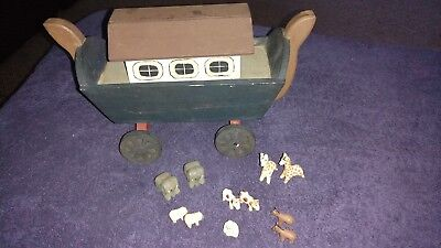 Vintage Midwest Importers of Cannon Falls Wooden Noahs Ark Wood Animals