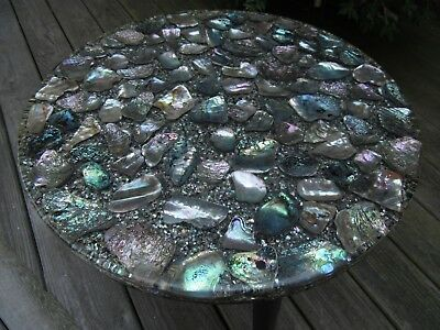 Lucite & Abalone Shell Vintage 1960s Side Table Mid Century Seashell Art
