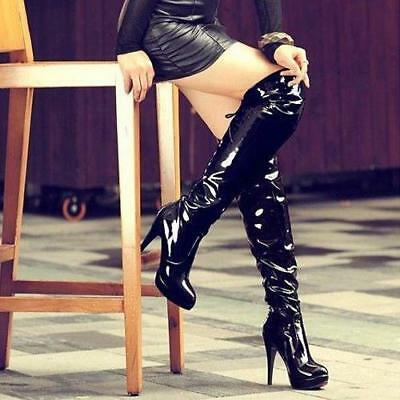 sexy Women's  Side Zipper Pu leather Stiletto Over Knee High club Boots pumps