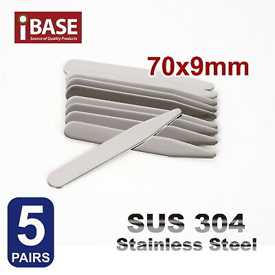 10x Collar Stays Stainless Steel Stiffener Metal 70 mm long Shirt tie Silver SUS