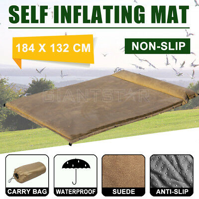 Double Self Inflating Mattress Sleeping Mat Air Pad Bed Camping Hiking Carry Bag