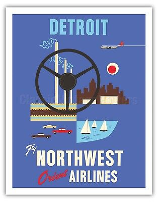 Detroit Motor City - Northwest Orient - 1950s Vintage Travel Poster Art Print