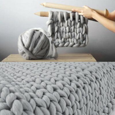Handmande Chunky Fluffy Knitted Blanket Thick Yarn Merino Knit Throw Bed Sofa UK