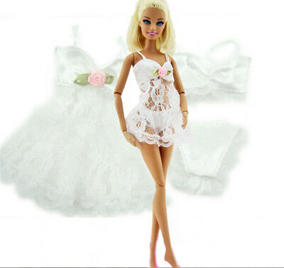 White Sexy Pajamas  + Bra + Underwear Clothes For Barbie Doll Clothes HT