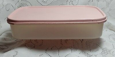 TUPPERWARE #1608 Modular Mate 8 1/2 Cup Rectangle Clear w/ Pink Lid