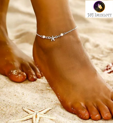 925 Sterling Silver StarFish Charm Pearl Bead Anklet Dangle Jewellery Jewelry