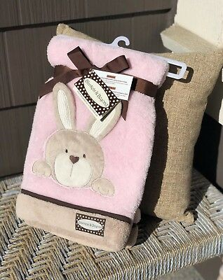 Blankets and Beyond Pink & Brown Bunny Rabbit Security Blanket wtih Crinkle Ears