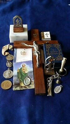 Vintage Religious Bundle, Rosary, Crucifix, Mary, St Christopher, Medallions
