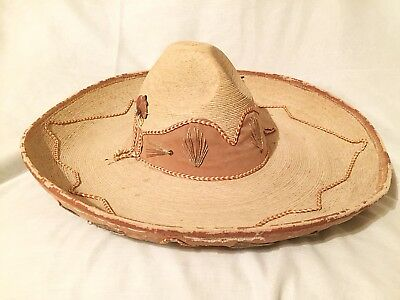 Vintage Antique Mexican Charro Straw Sombrero Hat Embroidered Handmade Leather