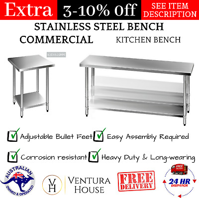 430 STAINLESS-STEEL BENCH TABLE Modern Worktop Commercial Kitchen Bench Silver