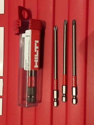 3x HILTI PH2 BITS for SMD 57, SD 5000, SD 4500, SD 6000, SD 2500 drill