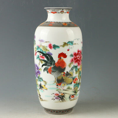 Chinese Porcelain Hand-painted Flowers & Chickens Vase W Qianlong Mark R1180.a