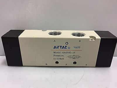 4A430E-15 AIRTAC Air-Pilot 5/3-Way Exhaust Centre Pneumatic Valve 1/2""