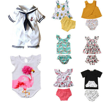 Cotton Infant Kids Baby Girl Boy Floral Romper Top+PP Pant Outfit Clothes Summer