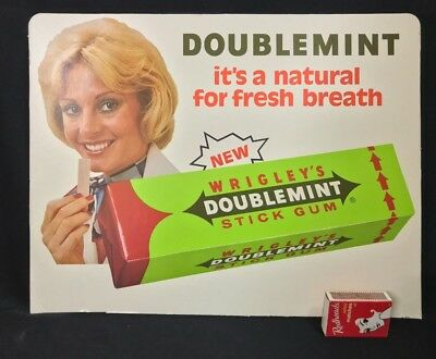 1970'S WRIGLEY'S DOUBLEMINT CHEWING GUM LARGE SHOP SIGN 35.5 CMS x 26.7 CMS