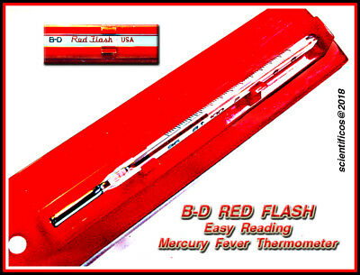 B - D RED FLASH ORAL Fever Thermometer in Plastic Humidor Case - NEW CONDITION