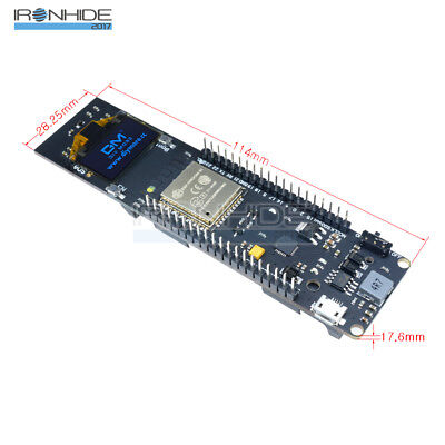 "0.96"" inch Blue OLED ESP32 WiFi Bluetooth Development Board 18650 Battery CP2012"