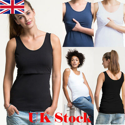 UK Pregnant Women Maternity Clothes Mom Nursing Breastfeeding T-Shirt Vest Top