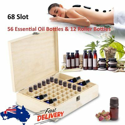 68 Slot Essential Oil Storage Box Wooden Aromatherapy Case Container Organizer