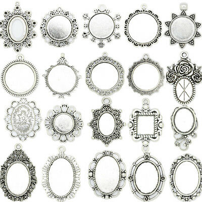 17 Kinds Antique Silver Cameo Cabochon Base Setting Crafts Charms Pendant Making