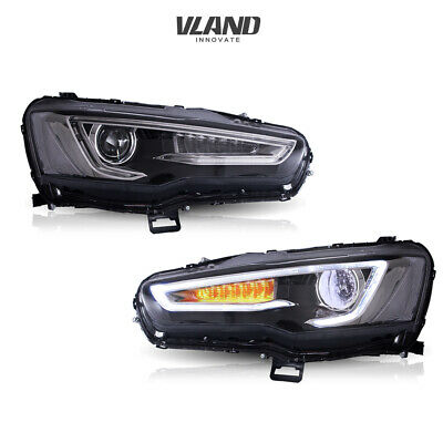 Vland Headlight For 2008-2017 Mitsubishi Lancer Led Black Housing Assembly