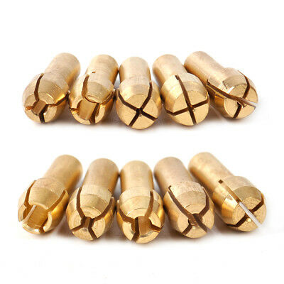 10x Brass Chuck Collet Drill Bit 0.5-3.2mm Set Fit For Nut Rotary Tool