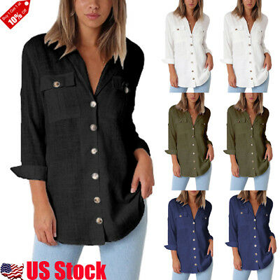 Women's V Neck Long Sleeve T Shirt Casual Loose Blouse Button Down Solid Tops US