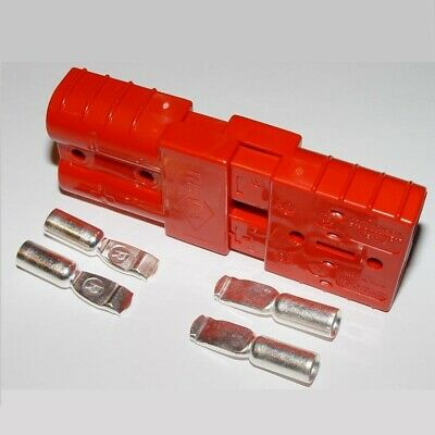 2 Connectors Plugs+Contacts, #1/0 Awg, Anderson Red, Sb175A-600V, Forklifts
