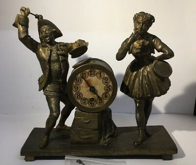 RARE Antique French Cast Metal / Spelter Mantle Mantel Clock - UNUSUAL - NICE