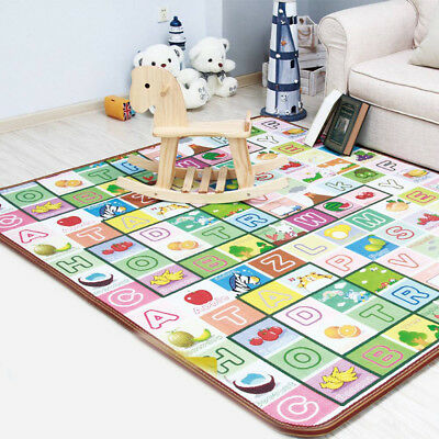 Kid Crawling 2 Sides Soft Foam Educational Game Play Mat Picnic Carpet 200X180CM