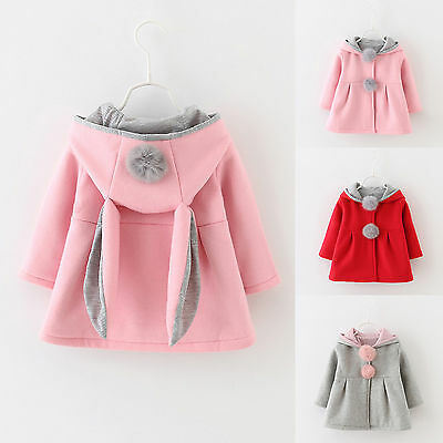 Kids Toddler Baby Infant Girls Coat Jacket Rabbit Ear Hooded Outerwear Clothes