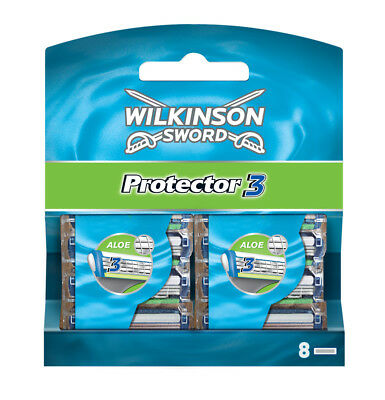 Wilkinson Sword Protector 3 Razor Blades 8 Pack Mens Shaving Genuine