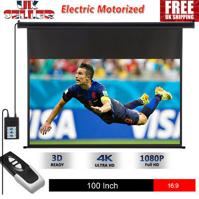 """100""""16:9 Electric Motorized HD 3D Projector Screen Cinema Theater Wall Mounted"""
