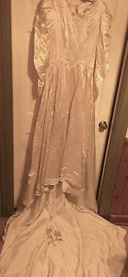 HATE TO TOSS 1960s Wedding Dress~RARE Liquid Satin~Edwardian Inspired~Redesign!