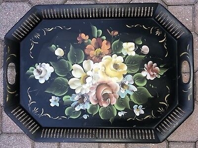 "Large Antique 24"" Toleware Tole Hand Painted Metal Tray FLOWERS"