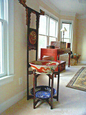 Antique Chinese Wash Basin Stand Wood Vanity Qilin Robe Towel Rack Dragons