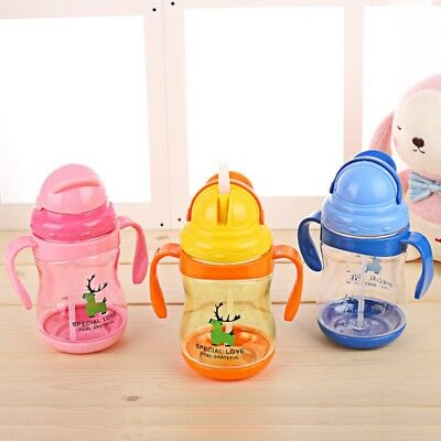 Baby Silicone Water Milk Feeding Learn Drinking Bottle Toddler Straw Suction Cup