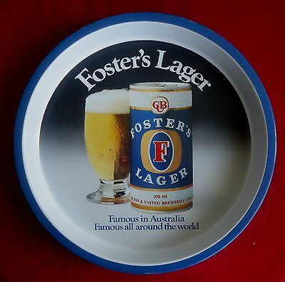 Vintage Foster's Lager Round Metal Barware Beer Tray *Famous in Aust & the World