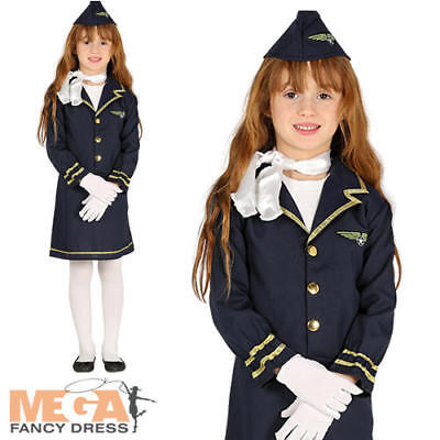 Stewardess Girls Fancy Dress Air Hostess Uniform Cabin Crew Kids Costume Outfit