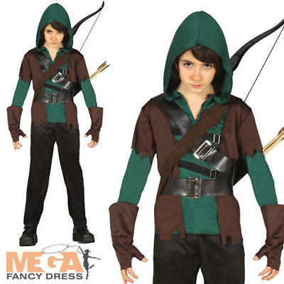 Archer Boys Fancy Dress Medieval Outlaw Robin Hood Kids World Book Day Costume