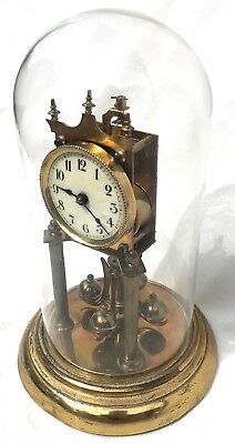 Jahresuhren-Fabrik Anniversary torsion clock with Original Glass Dome