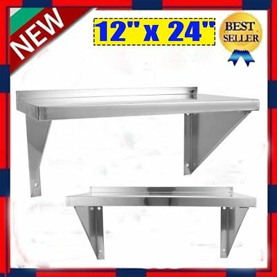 """12"""" x 24"""" Commercial Heavy Duty Stainless Steel Wall Mount Shelf NSF Shelving GH"""