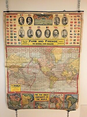 Vintage Antique Farm and Fireside World Map Mercators Projection 1921 3-Page
