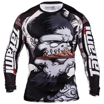 Tatami Chess Gorilla BJJ Rash Guard Long Sleeve MMA Jiu Jitsu Compression Mens