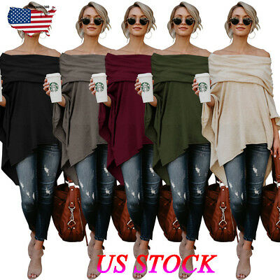 Womens Sexy Boat Neck Asymmetrical T-Shirt Tunic Tops Off Shoulder Shirt Blouse