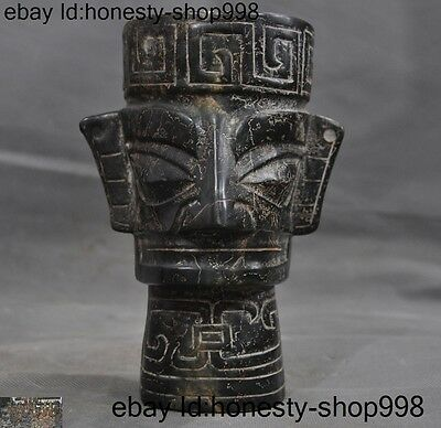 """7""""antique Rare Chinese Old jade Hand-Carved Sanxingdui Relics people Head Statue"""