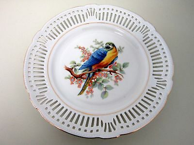 "Schwarzenhammer Bavaria Parrot Bird Macaw Plate Reticulated Border 10.5"" Germany"