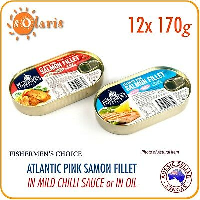 12 Tins 170g Atlantic Pink Salmon Fillet in Mild Chilli / No Sauce Product of EU
